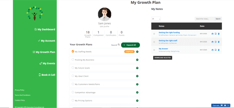 sample growth action plan